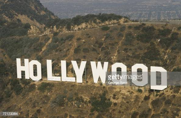 An aerial photograph of the famed Hollywood Sign taken in 1991 Hollywood California The deteriorating landmark was given a makeover by community...