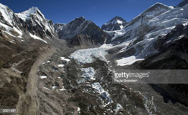 An aerial photograph of the Khumbu Glacier along Everest's Himalayan range May 15 2003 on the NepalTibet border A record 1000 climbers plan assaults...