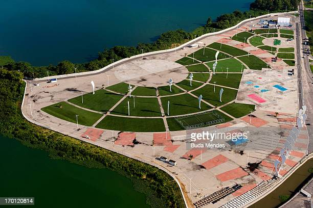 An aerial picture of Parque dos Atletas on June 06 2013 in Rio de Janeiro Brazil This area will be dedicated for the leisure of the competitors in...