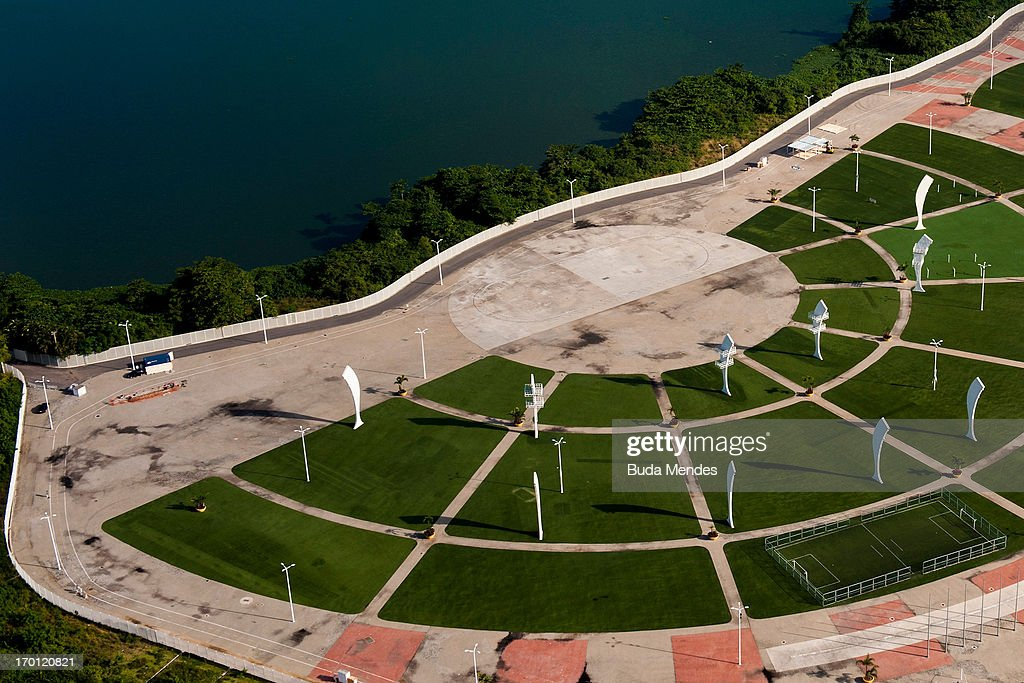 An aerial picture of Parque dos Atletas (Athletes Park) on June 06, 2013 in Rio de Janeiro, Brazil. This area will be dedicated for the leisure of the competitors in the next Olympics.