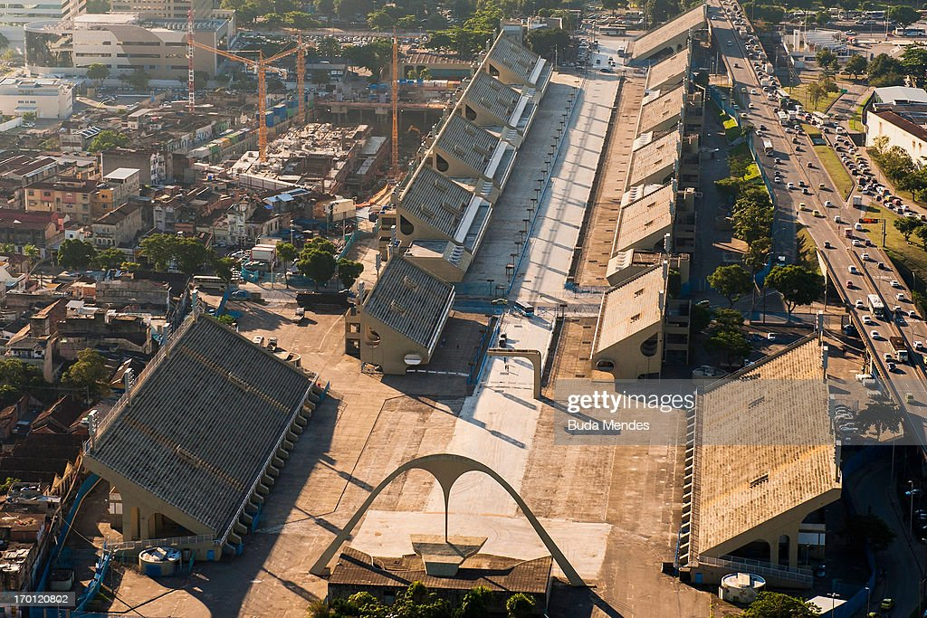 An aerial picture of Rio de Janeiro's Sambadrome that will host archery events and the arrival of the marathon in Rio 2016 Olympic Games on June 6, 2013 in Rio de Janeiro, Brazil.