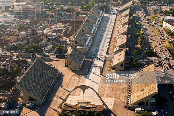 An aerial picture of Rio de Janeiro's Sambadrome that will host archery events and the arrival of the marathon in Rio 2016 Olympic Games on June 6...
