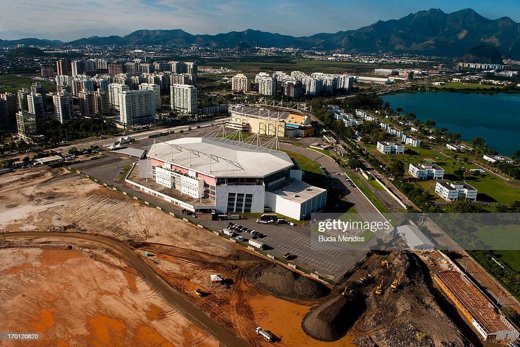 An aerial picture of Rio Olympic Arena that will hosts Gymnastics events and wheelchair basketball in the Paralympics 2016 on June 6, 2013 in Rio de Janeiro, Brazil.
