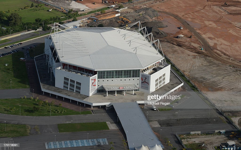 An aerial picture of the HSBC Arena in Barra which will host Artistic gymnastics, Rhythmic gymnastics, Basketball, and Trampoline as preparations continue ahead of the 2016 Olympic Games on June 6, 2013 in Rio de Janeiro, Brazil.