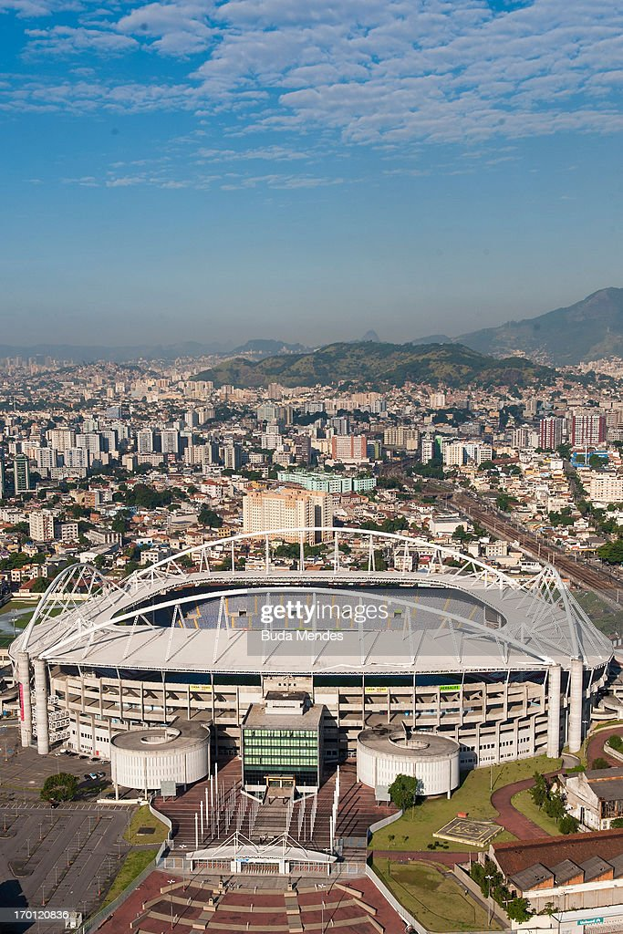 An aerial picture of the Joao Havelange Stadium which will host the athletics and opening cermony as preparations continue ahead of the 2016 Olympic Games on June 6, 2013 in Rio de Janeiro, Brazil.