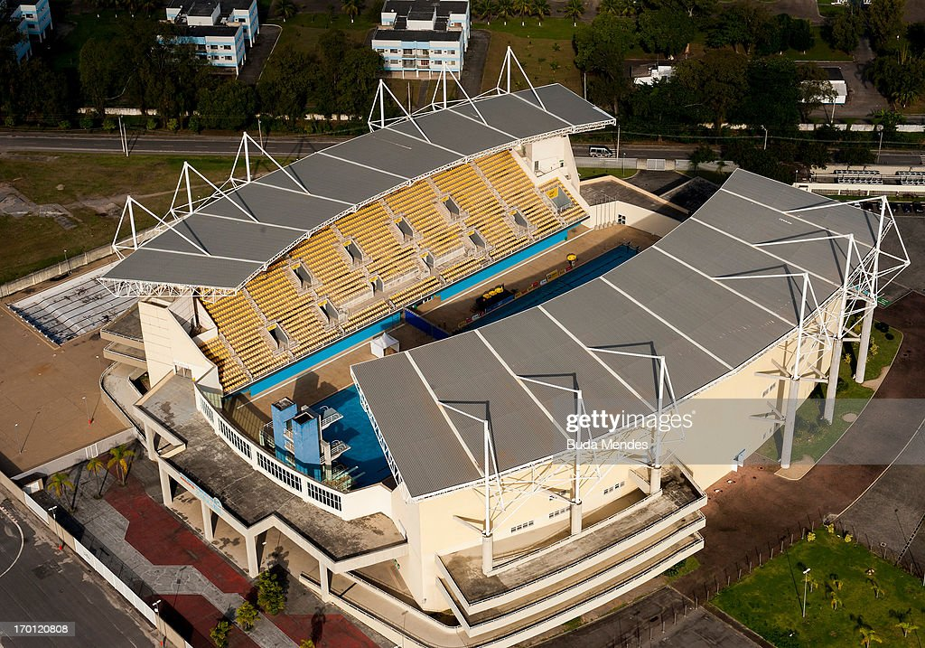An aerial picture of the Maria Lenk Aquatic Center in Barra which will host diving and water polo as preparations continue ahead of the 2016 Olympic Games on June 6, 2013 in Rio de Janeiro, Brazil.