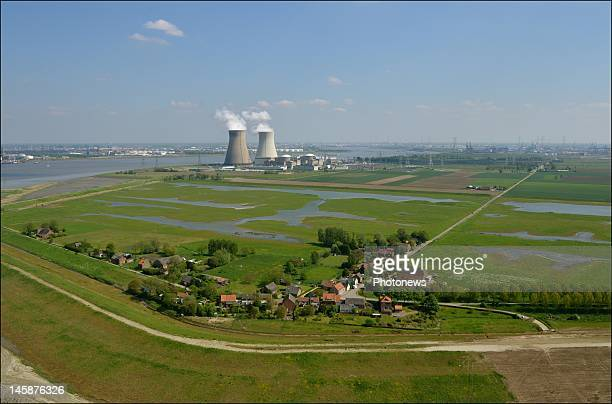 An aerial picture of the Nuclear Power Plant of Doel on May 24 2012 in Belgium