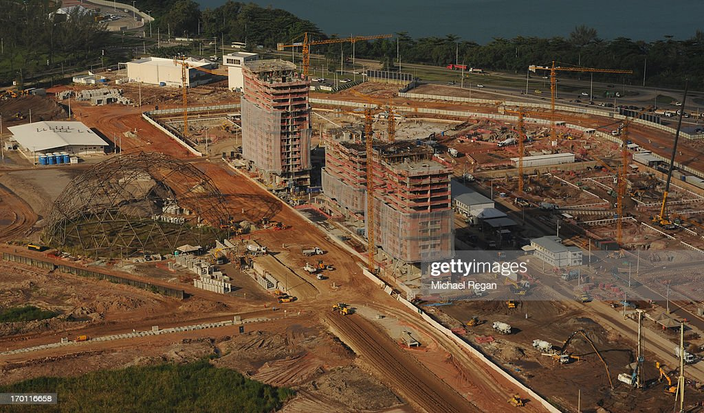 An aerial picture of the site of the athletes village in Barra as preparations continue ahead of the 2016 Olympic Games on June 6, 2013 in Rio de Janeiro, Brazil.