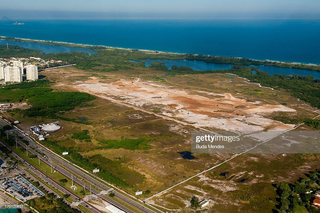 An aerial picture of the site of the Olympic golf course in Barra as preparations continue ahead of the 2016 Olympic Games on June 6, 2013 in Rio de Janeiro, Brazil.
