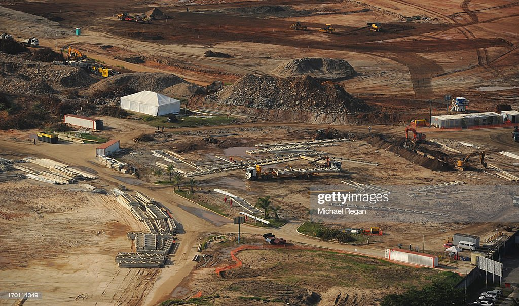 An aerial picture of the site of the Olympic Park in Barra as preparations continue ahead of the 2016 Olympic Games on June 6, 2013 in Rio de Janeiro, Brazil.