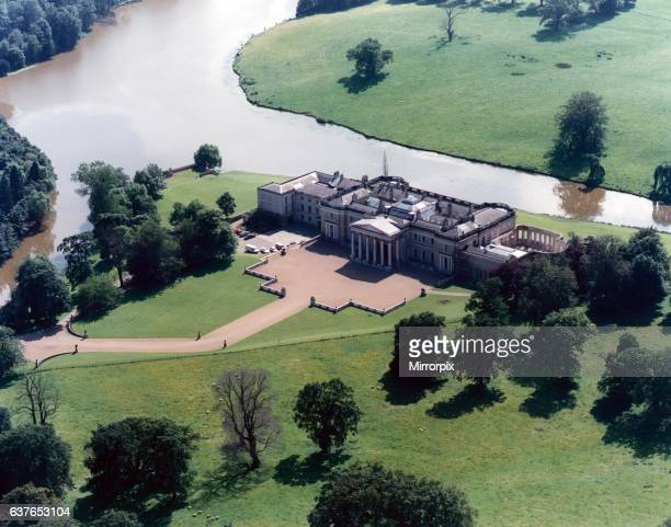An aerial picture of Wynyard Hall showing the main lake Wynyard Billingham Cleveland 14th November 1989