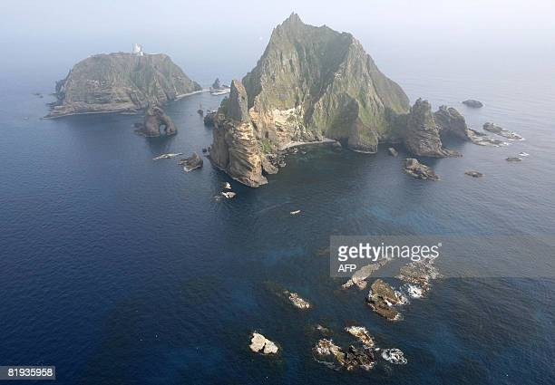 An aerial picture shows a group of islets controlled by South Korea but also claimed by Japan in the Sea of Japan on July 14 2008 South Korea...