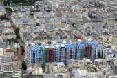 An aerial picture taken aboard an helicopter on July 20 2010 shows a view of the Centre Pompidou modern art museum in Paris The iconic blue boxes and...