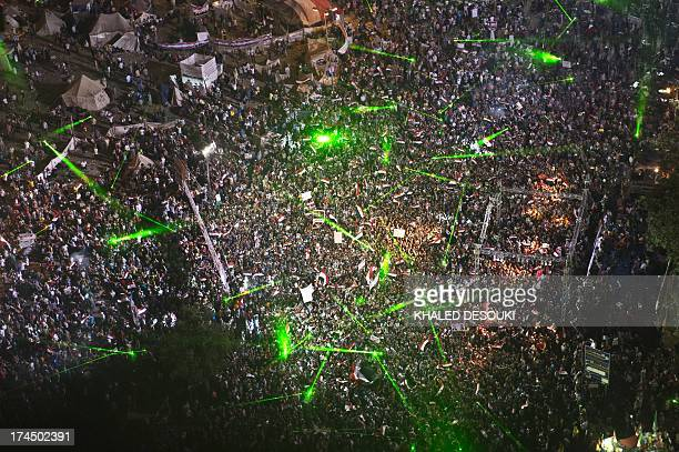 An aerial picture taken from a military helicopter shows Tahrir Square during a rally of opponents to deposed Egyptian president Mohamed Morsi in...