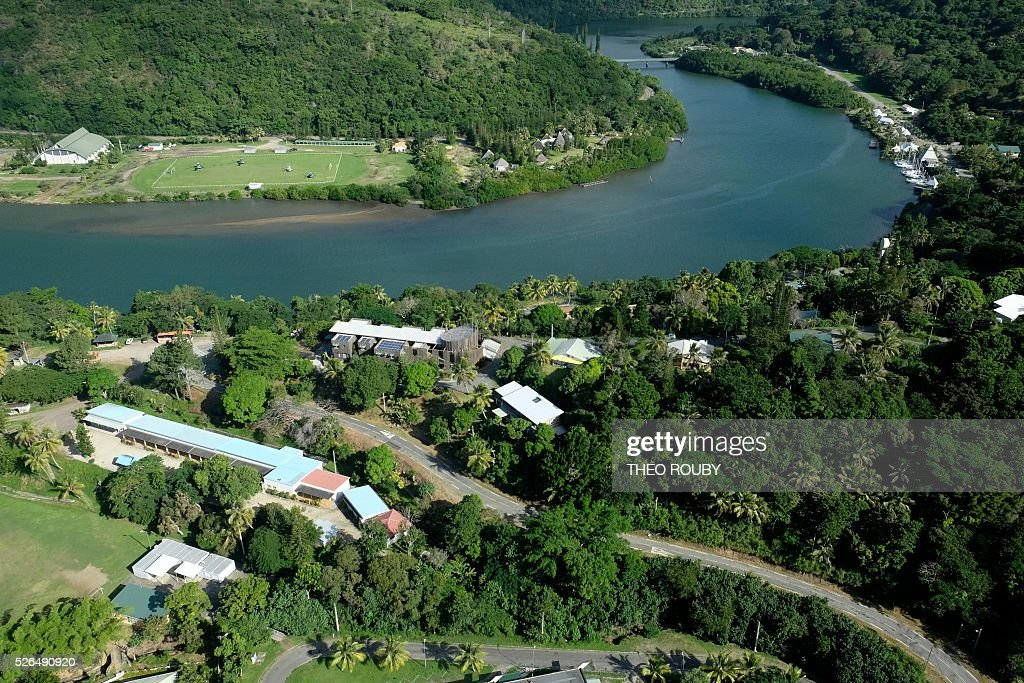 An aerial picture taken on April 30, 2016, shows a view of the village of Hienghene in New Caledonia. / AFP / POOL / Th��o Rouby
