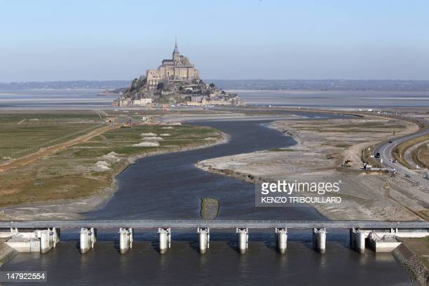 An aerial picture taken on February 2 2012 shows the MontSaintMichel a tourist attraction and Unesco world heritage site in northwestern France At...