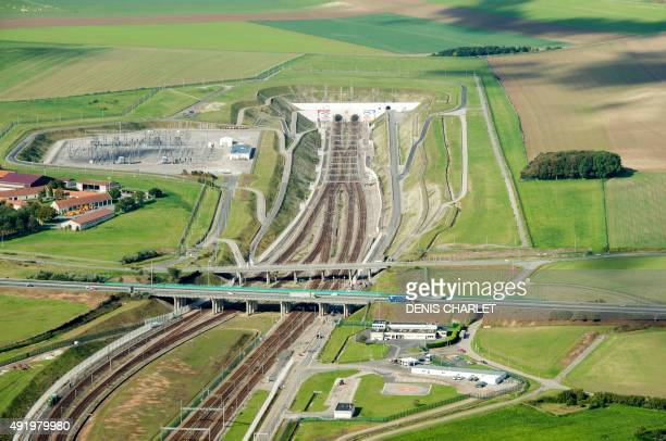 An aerial picture taken on October 8 2015 shows the Eurotunnel site in Coquelles northern France few kilometres from the 'New Jungle' migrants camp...