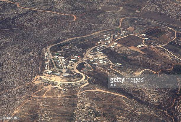 An aerial picture taken on September 20 2010 shows a general view of the Israeli settlement of Amona which was established in 1997 The outpost which...