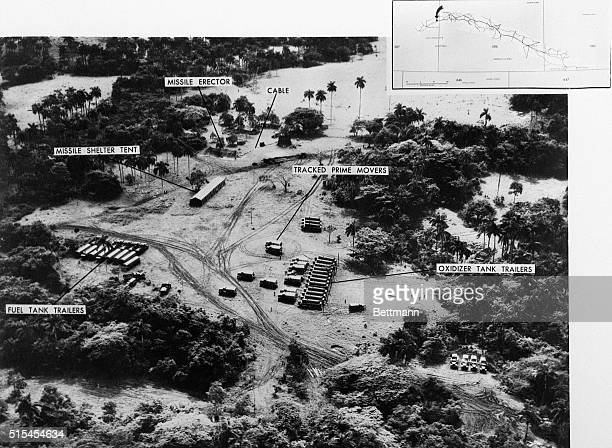 An aerial reconnaissance photograph showing a missile launch site in San Cristobal Cuba The discovery of this and other Soviet missile sites in Cuba...