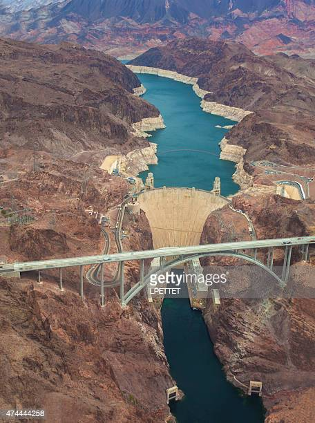 An aerial shot of the Hoover Dam and Lake Mead