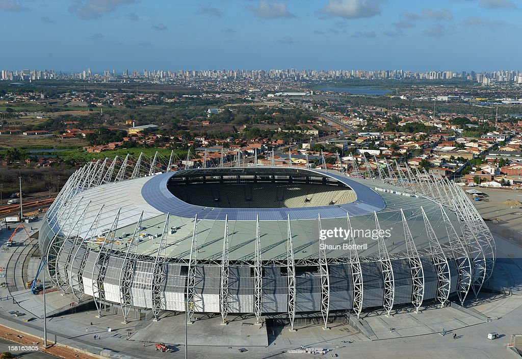 An aerial shot of the of the Arena Castelao venue for the FIFA 2014 World Cup on December 10, 2012 in Fortaleza, Brazil.
