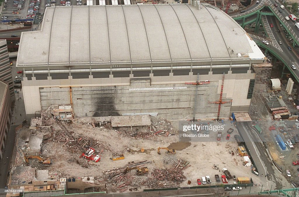 An aerial shows a completely demolished Boston Garden