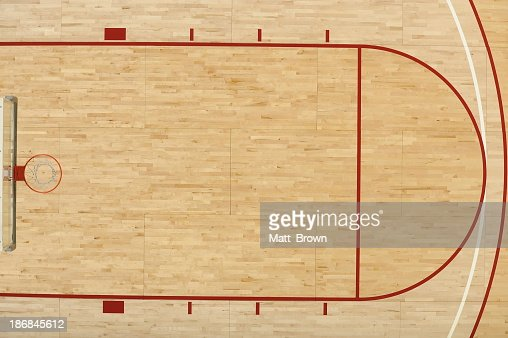 An aerial view above half of one end of a basketball court