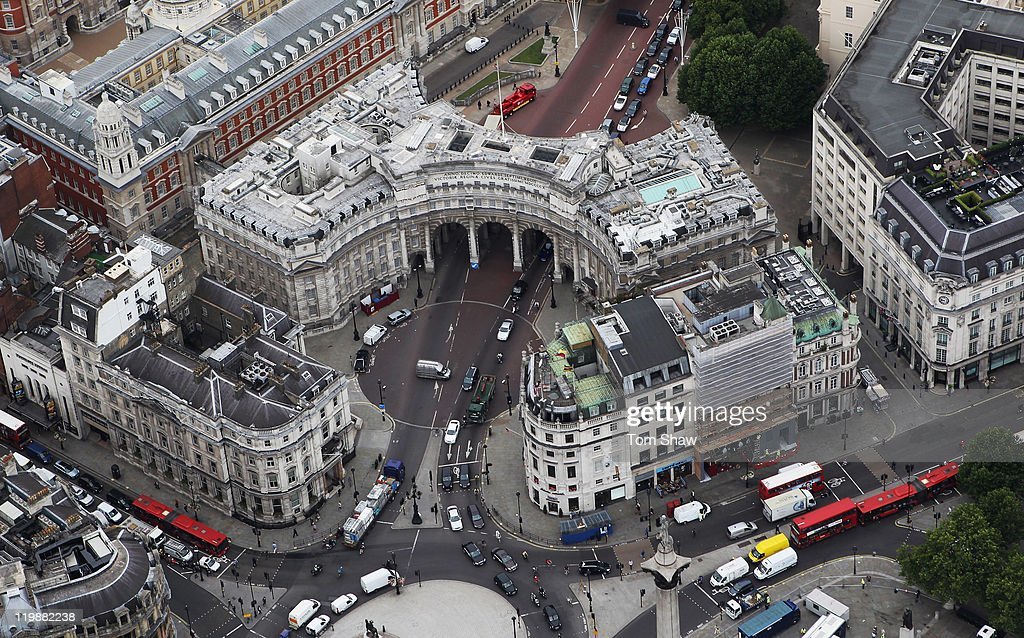 An Aerial view Admiralty Arch at the top of The Mall on July 26, 2011 in London, England. London will host the 2012 Olympic Games.
