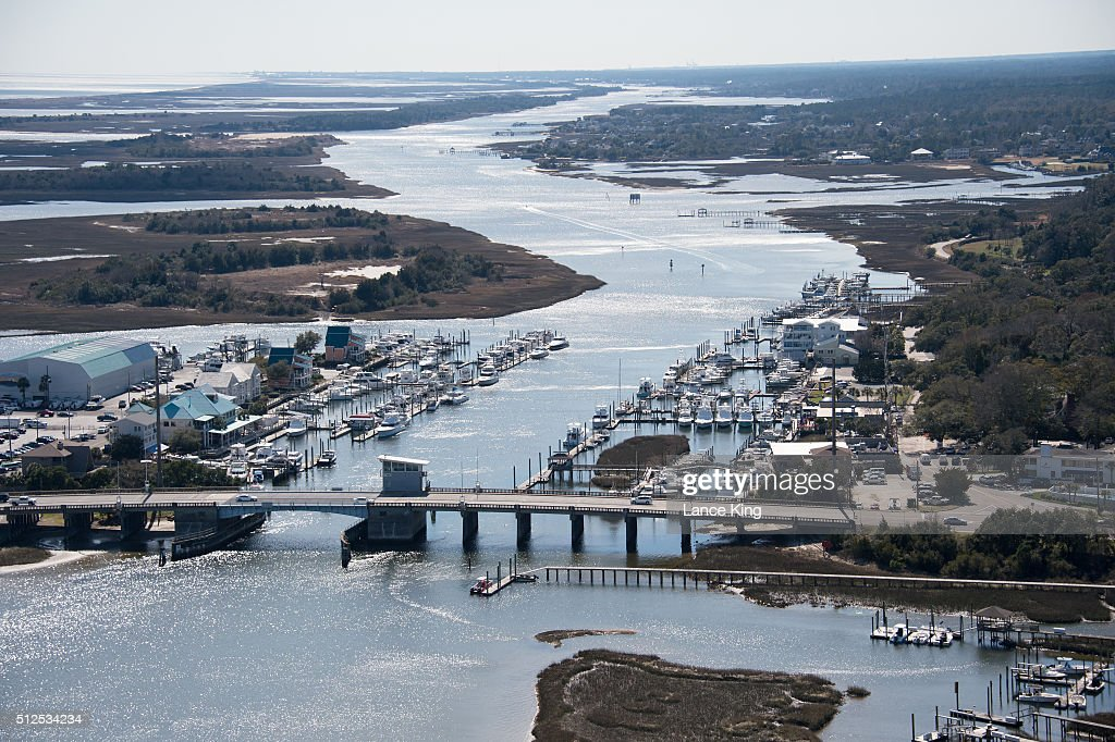 An aerial view along the Atlantic Intracoastal Waterway on February 26 2016 in Wrightsville Beach North Carolina