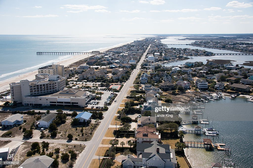 An aerial view along the Atlantic Ocean shoreline and Banks Channel on February 26 2016 in Wrightsville Beach North Carolina