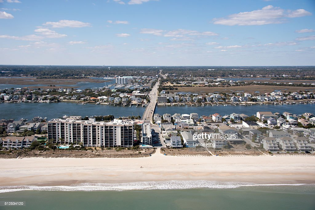 An aerial view along the Atlantic Ocean shoreline on February 26 2016 in Wrightsville Beach North Carolina