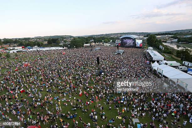 An aerial view as Rudimental perform at The Isle of Wight Festival at Seaclose Park on June 13 2014 in Newport Isle of Wight