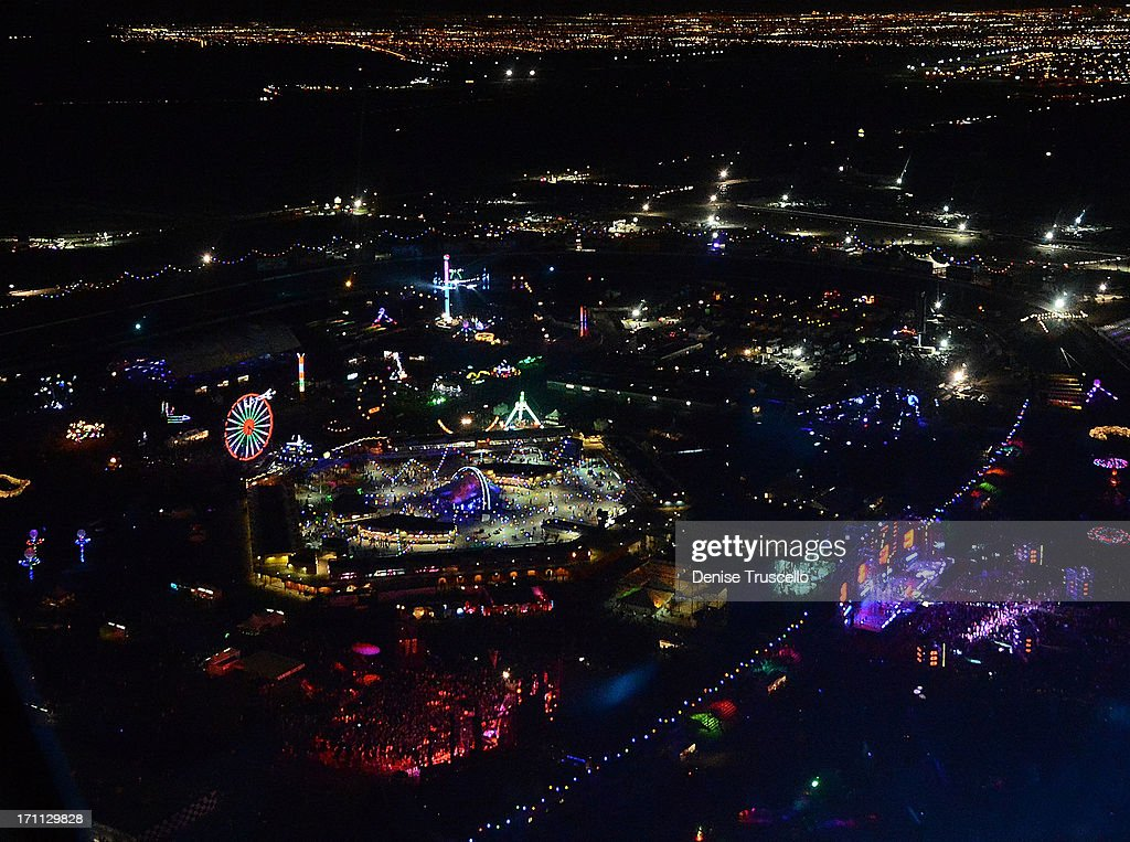 An aerial view during the 17th annual Electric Daisy Carnival at Las Vegas Motor Speedway on June 21, 2013 in Las Vegas, Nevada.