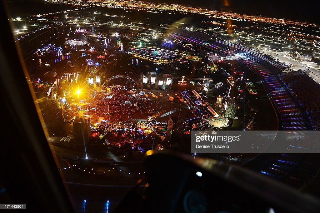 An aerial view during the 17th annual Electric Daisy Carnival at Las Vegas Motor Speedway on June 23, 2013 in Las Vegas, Nevada.