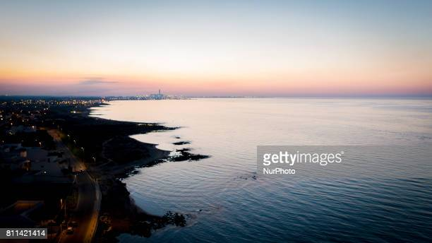 An aerial view during the sunset in Casalabate Italy on July 9 2017 Casalabate is a town on the Adriatic coast in the province of Lecce It is a small...