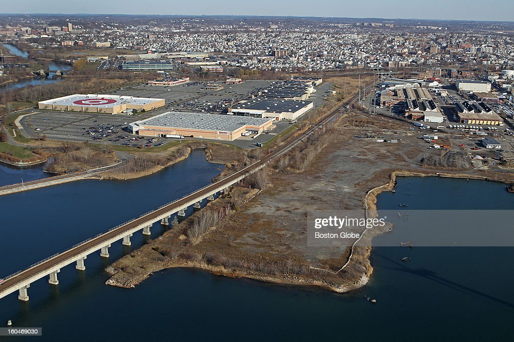 An aerial view; Everett Mayor Carlo DeMaria, Jr. and Steve Wynn, CEO of Wynn Resorts are proposing a casino site at former Monsanto Chemical Plant. It's on the river, just east of/behind the Gateway Shopping Plaza.