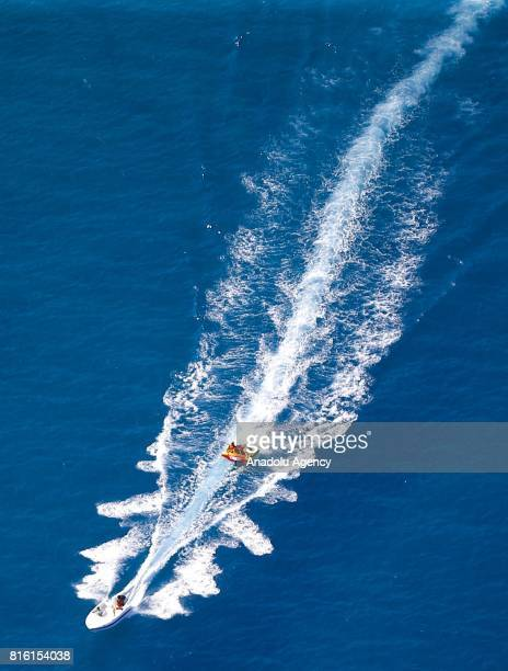 An aerial view from Adrasan coast in Kumluca district of Antalya Turkey on July 17 2017 A collection of smaller villages and hamlets Adrasan extends...