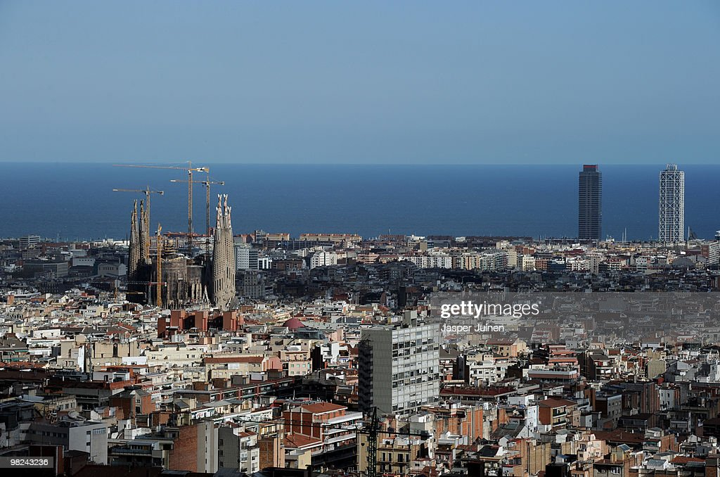 An aerial view from Parque Guell shows Antoni Gaudi's unfinished church La Sagrada Familia on April 4, 2010 in Barcelona, Spain. The Sagrada Familia church will be consecrated by Pope Benedict XVI in November 2010.