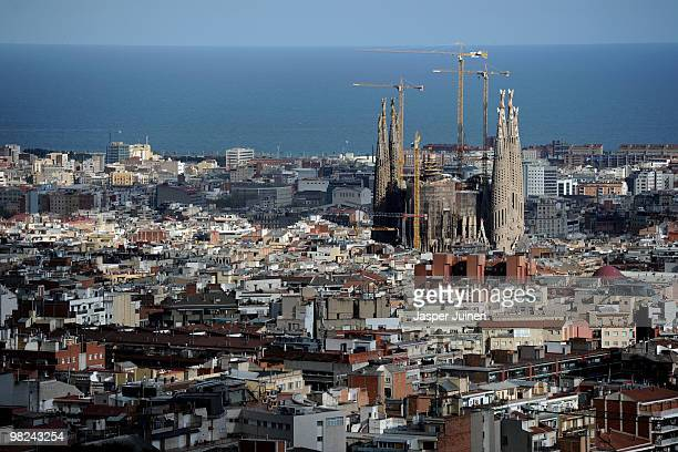 An aerial view from Parque Guell shows Antoni Gaudi's unfinished church La Sagrada Familia on April 4 2010 in Barcelona Spain The Sagrada Familia...