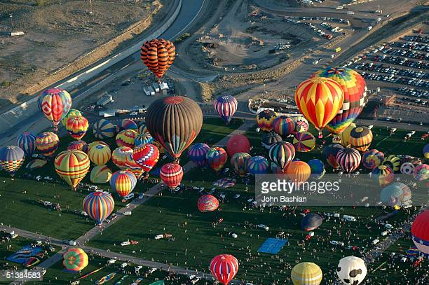 An aerial view is seen during the first wave of the balloon launching at the Albuquerque International Balloon Fiesta 'Freedom in the Air' with over...