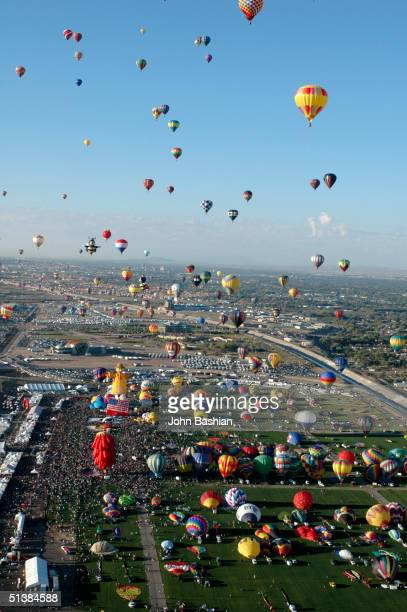 An aerial view is seen during the opening day of the Albuquerque International Balloon Fiesta 'Freedom in the Air' with over 750 balloons and 100000...