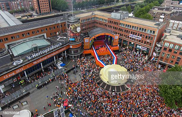 An aerial view made by an Octocopter a remote controlled helicopter shows crowds at the ceremony of the Dutch Olympic contestants at the...