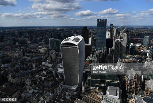 An aerial view of 20 Fenchurch Street on July 12 2017 in London England