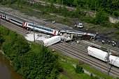 An aerial view of a derailed passenger train which collided with a goods train just outside the city of Liege on June 6 2016 in HermallesousHuy...