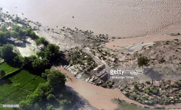An aerial view of a flood affected Pargwal village along River Chenab on September 7 2014 in Jammu India Prime Minister Narendra Modi also reached in...