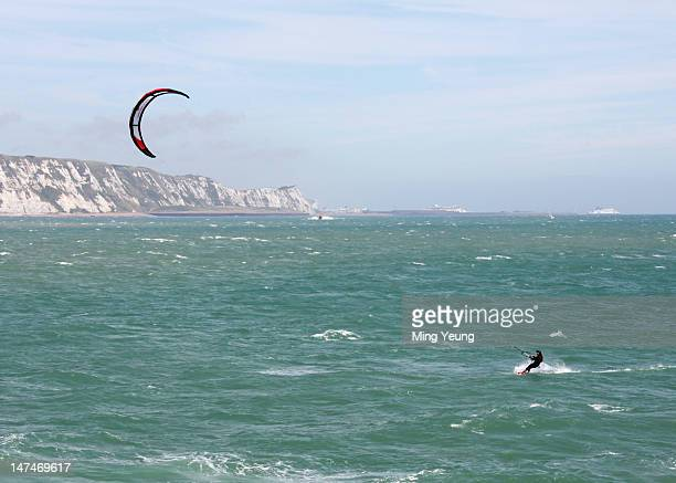 An aerial view of a kite surfer arriving on the South Coast after crossing the English channel on June 30 2012 in Folkestone England Sam Branson...