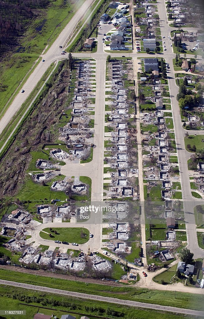An aerial view of a part of the town which was devastated by a fire in May 2011, on July 7, 2011 in Slave Lake, Alberta. The newly married Royal Couple are on the seventh day of their first joint overseas tour. The 12 day visit to North America is taking in some of the more remote areas of the country such as Prince Edward Island, Yellowknife and Calgary. The Royal couple started off their tour by joining millions of Canadians in taking part in Canada Day celebrations which mark Canada's 144th Birthday.