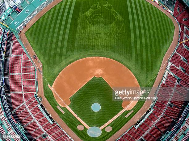 An aerial view of a pattern of David Ortiz of the Boston Red Sox in the centerfield grass before a game against the Toronto Blue Jays on September 30...