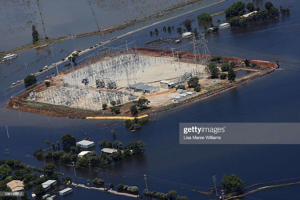 An aerial view of a power station surrounded by flood water on January 19, 2011 in Kerang, Australia. Evacuations have been ordered in several western and north-western Victorian towns as they brace for the worst flooding in over 200 years. Record rainfall has inundated the region and causing several river water levels to rise. The Victorian floods have so far claimed one life, after the body of a missing seven-year-old boy was identified yesterday.