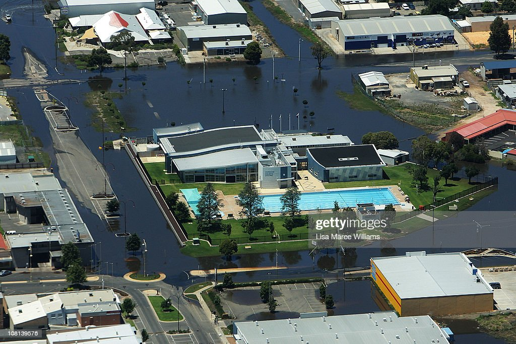 An aerial view of a public swimming pool surrounded by flood water on January 19, 2011 in Horsham, Australia. Evacuations have been ordered in several western and north-western Victorian towns as they brace for the worst flooding in over 200 years. Record rainfall has inundated the region and causing several river water levels to rise. The Victorian floods have so far claimed one life, after the body of a missing seven-year-old boy was identified yesterday.